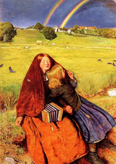 Millais, John Everett: The Blind Girl. Fine Art Print/Poster. Sizes: A4/A3/A2/A1 (00705)